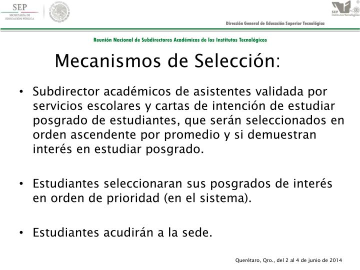 Mecanismos de Selección: