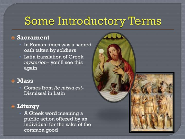 Some introductory terms