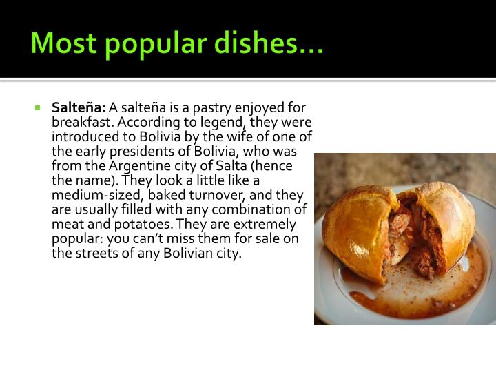 Most popular dishes…