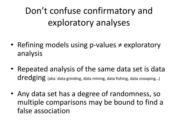 Don't confuse confirmatory and exploratory analyses