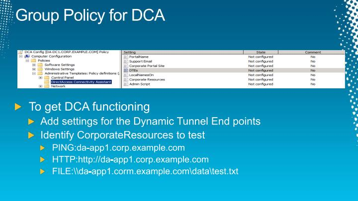 Group Policy for DCA