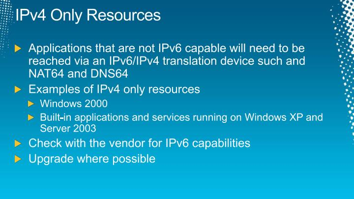 IPv4 Only Resources