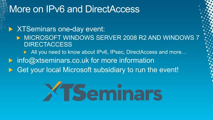 More on IPv6 and DirectAccess
