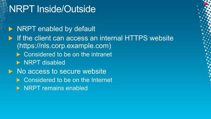 NRPT Inside/Outside