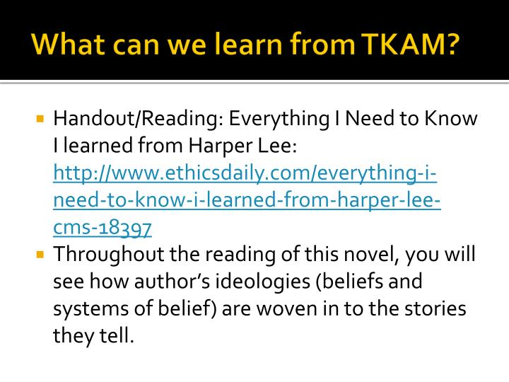 What can we learn from TKAM?
