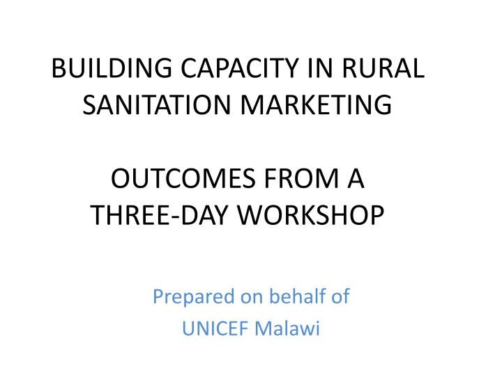 BUILDING CAPACITY IN RURAL SANITATION MARKETING