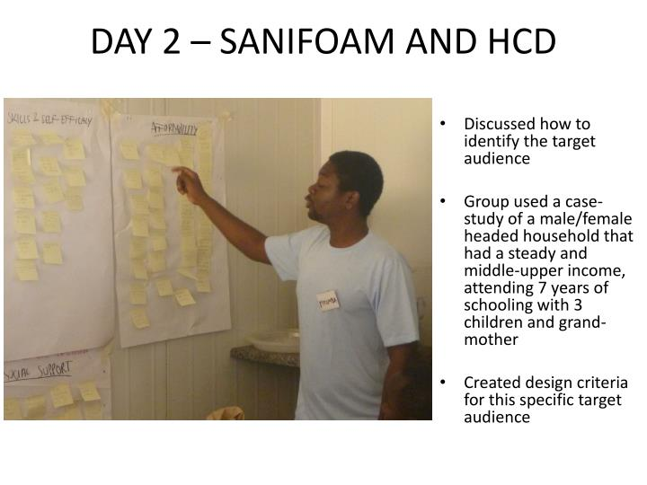 DAY 2 – SANIFOAM AND HCD