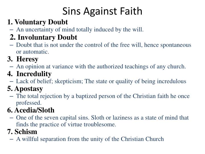 Sins Against Faith
