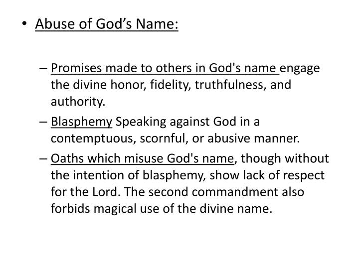 Abuse of God's Name: