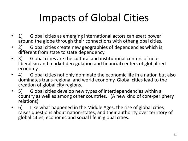 Impacts of Global Cities