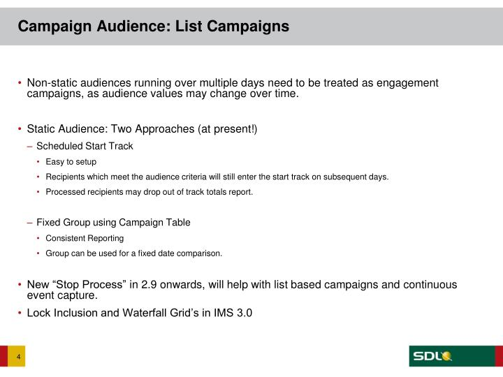 Campaign Audience: List Campaigns