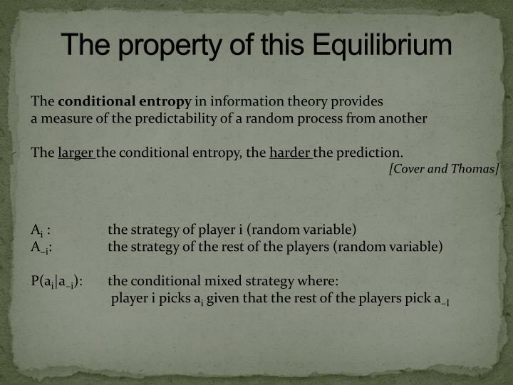 The property of this Equilibrium