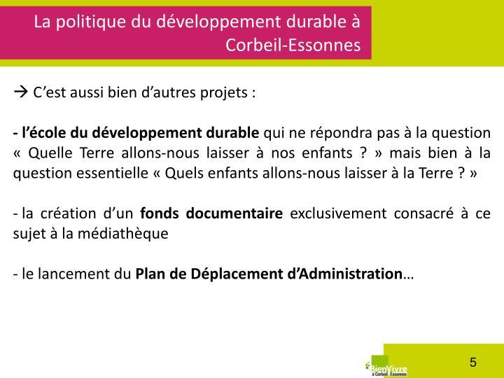 La politique du développement durable à Corbeil-Essonnes