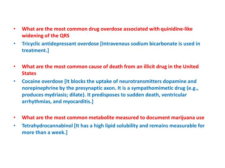 What are the most common drug overdose associated with