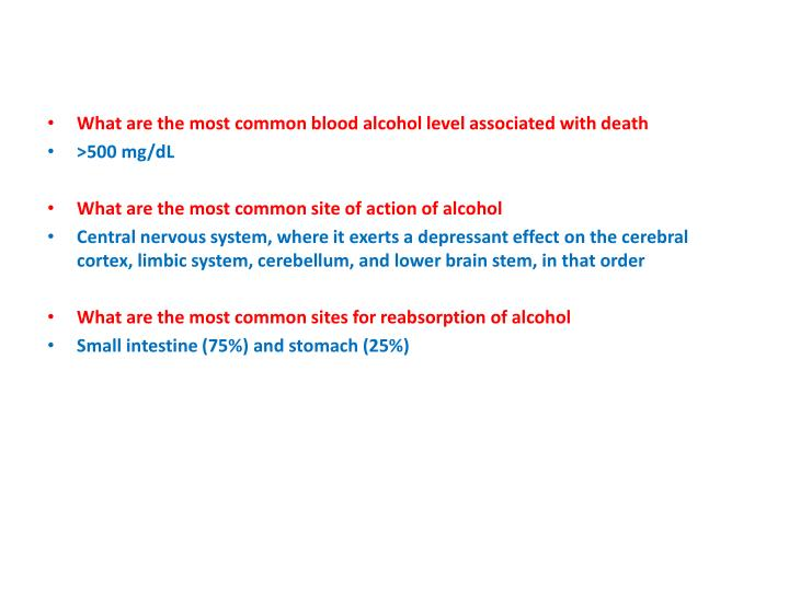 What are the most common blood alcohol level associated with death