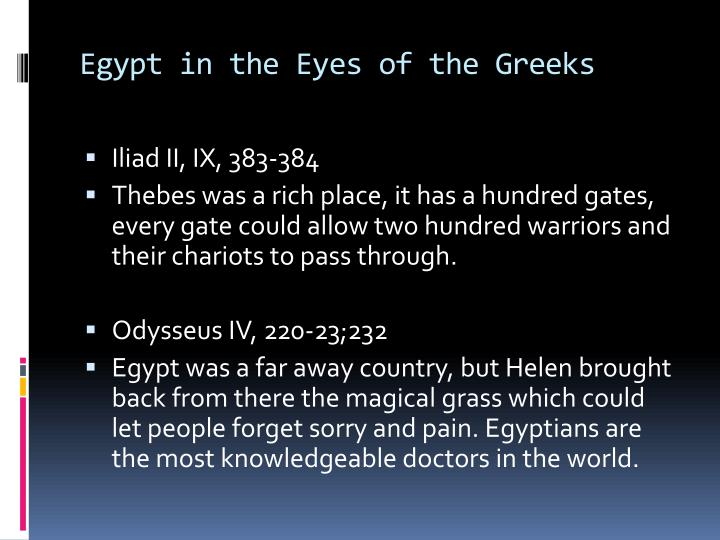 Egypt in the Eyes of the Greeks