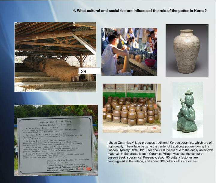 4. What cultural and social factors influenced the role of the potter in Korea?