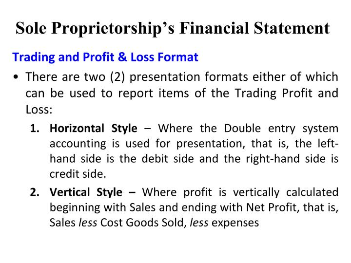 Sole Proprietorship's Financial Statement