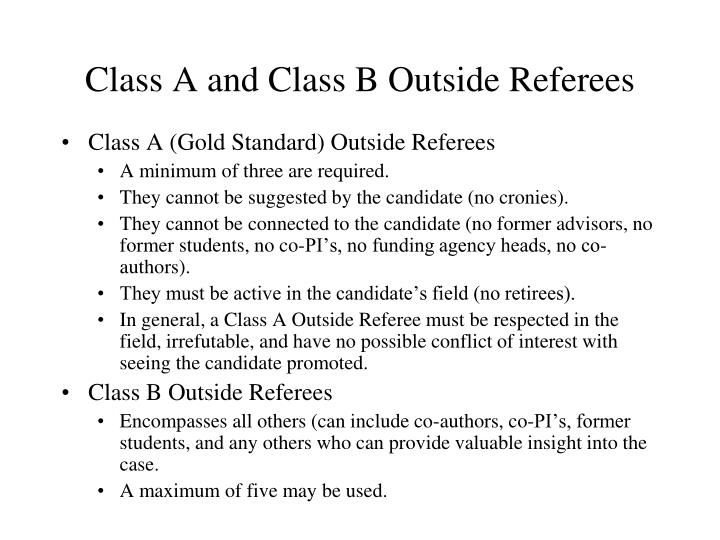 Class A and Class B Outside Referees
