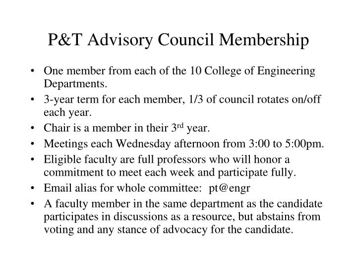 P&T Advisory Council Membership