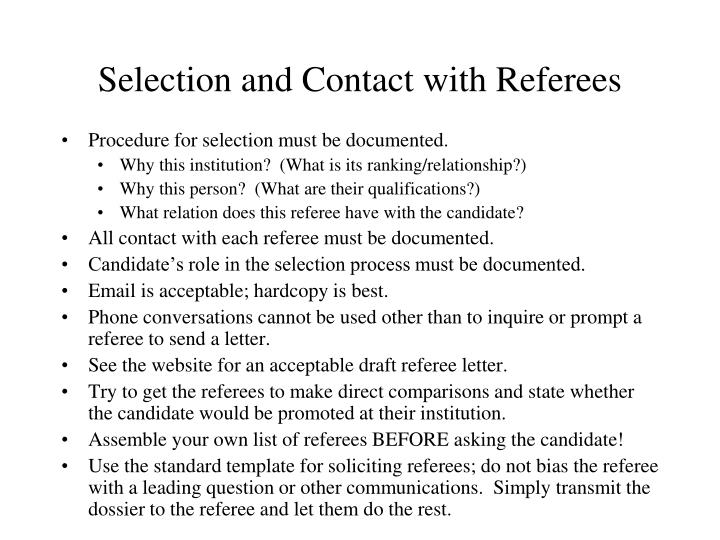 Selection and Contact with Referees