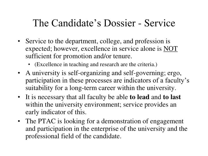 The Candidate's Dossier - Service