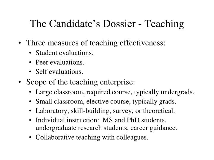 The Candidate's Dossier - Teaching