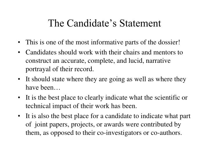 The Candidate's Statement