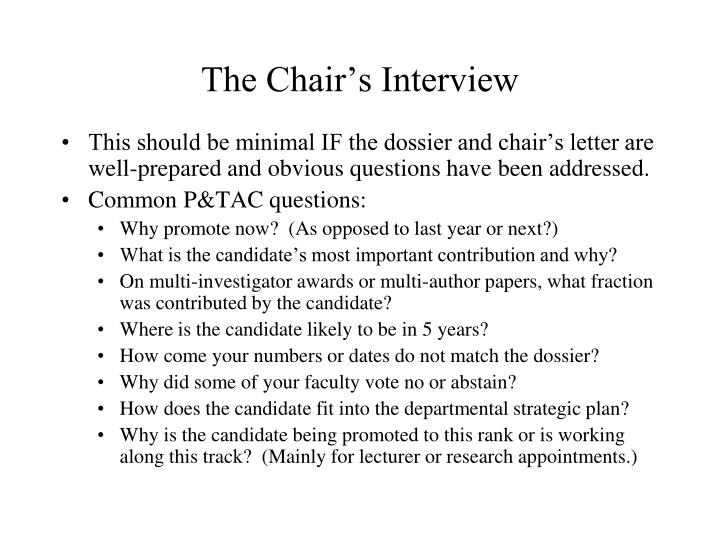 The Chair's Interview