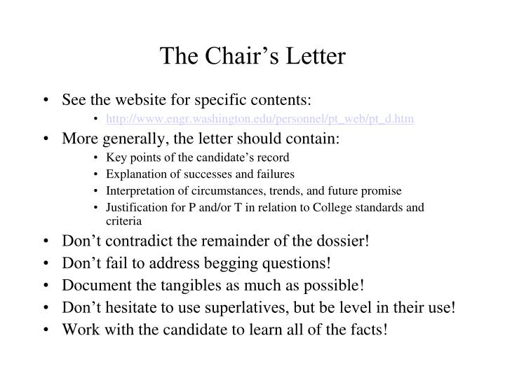 The Chair's Letter