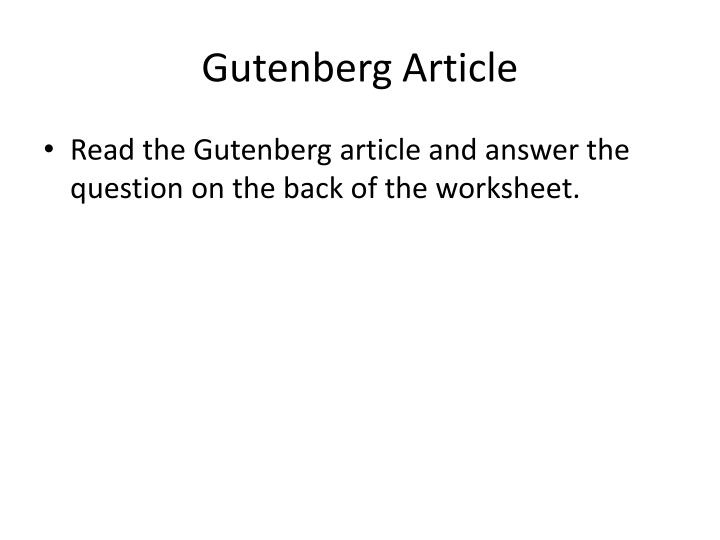 Gutenberg Article