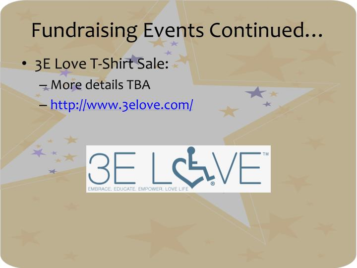 Fundraising Events Continued…