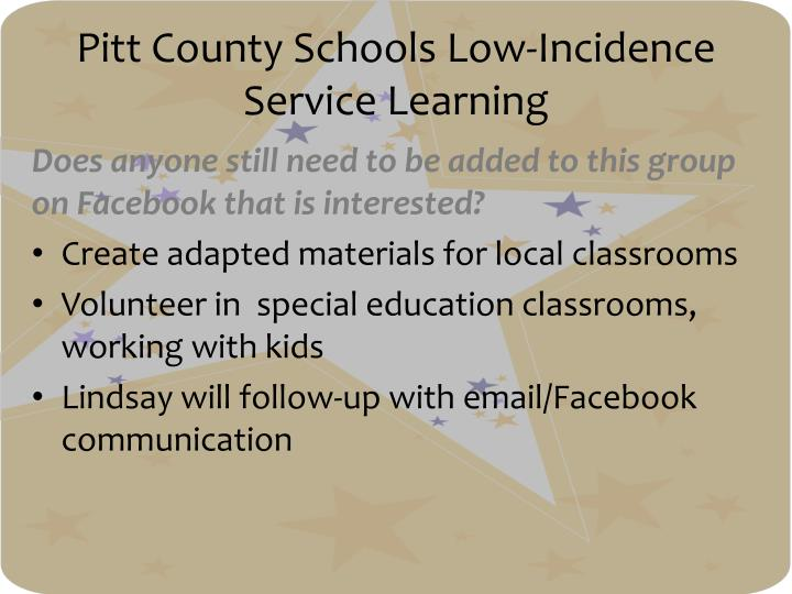 Pitt County Schools Low-Incidence Service Learning