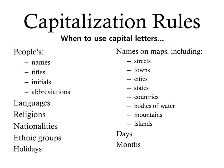 capitalization rules for essays Admin capitalization, capitalization rules, writing knowing when to capitalize a word and here are some rules about specific types of proper nouns: names - first and last names are composition titles - book, movie, art, play, essay, chapter, and poem titles are capitalized, but only certain words.