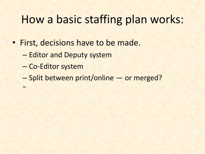 How a basic staffing plan works: