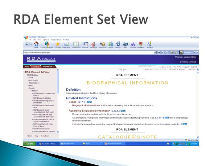 RDA Element Set View