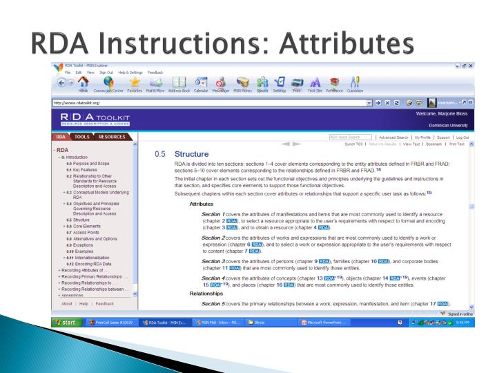 RDA Instructions: Attributes