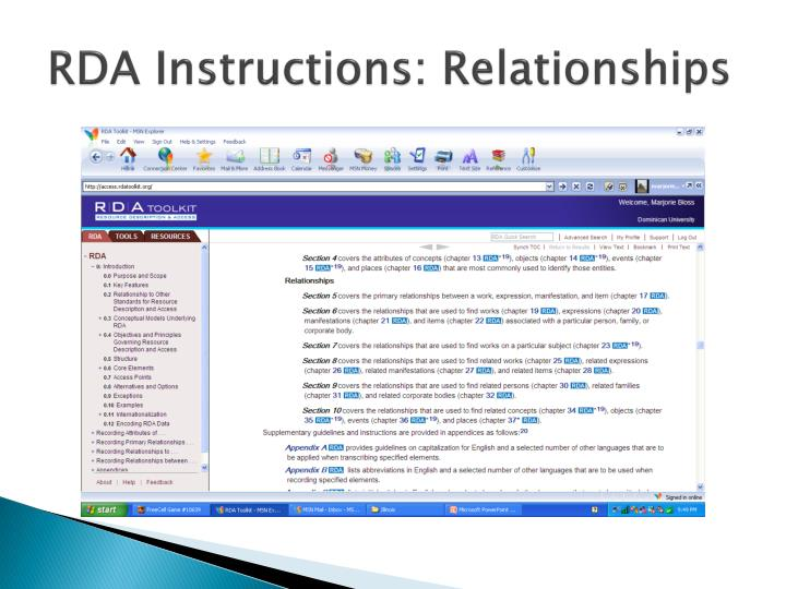 RDA Instructions: Relationships