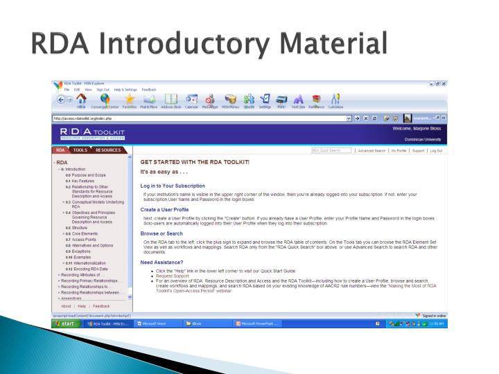 RDA Introductory Material