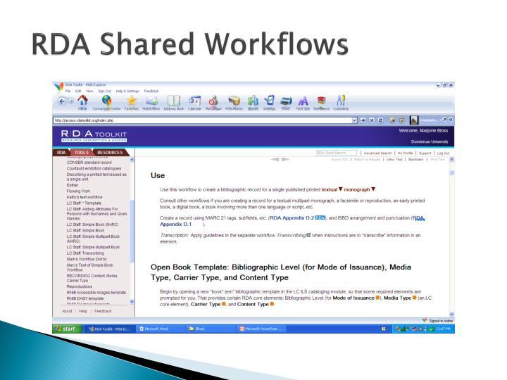 RDA Shared Workflows