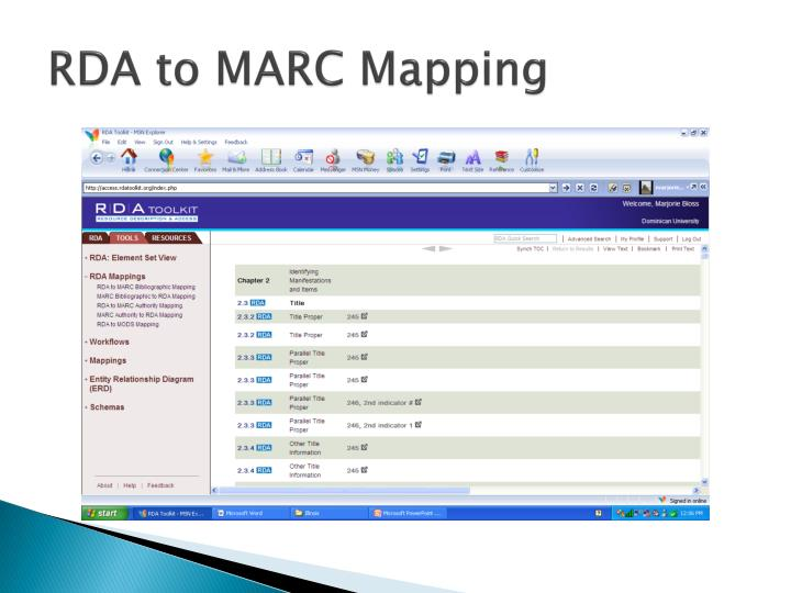 RDA to MARC Mapping