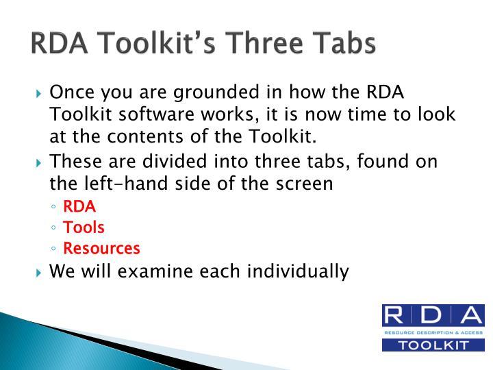 RDA Toolkit's Three Tabs