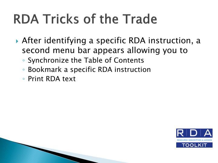 RDA Tricks of the Trade