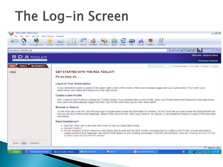The Log-in Screen