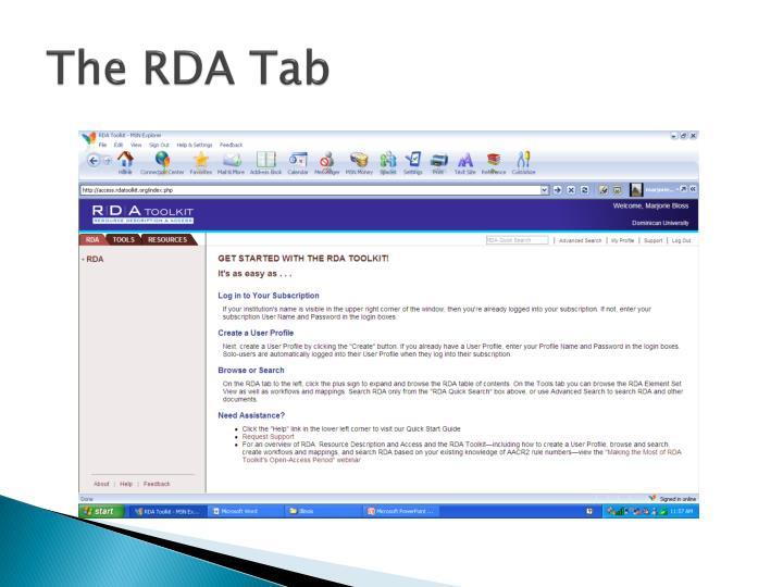 The RDA Tab