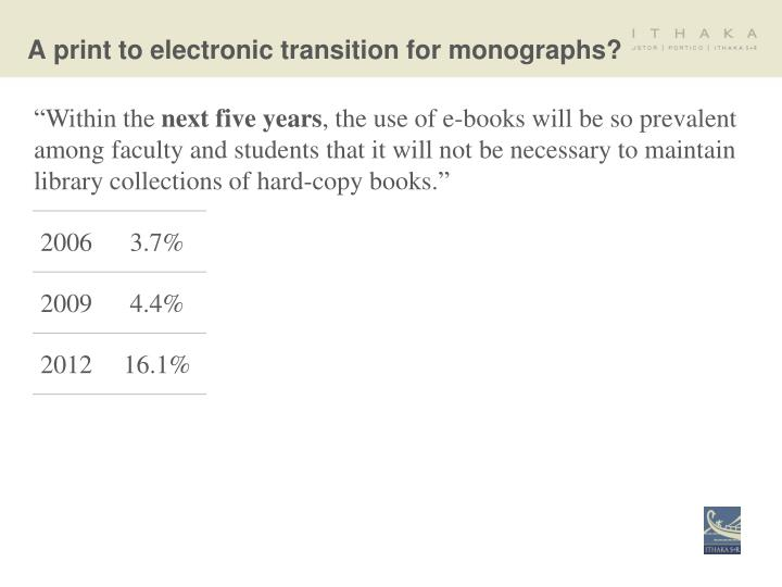 A print to electronic transition for monographs?