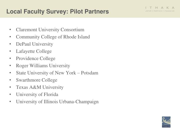 Local Faculty Survey: Pilot Partners
