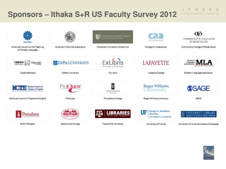 Sponsors – Ithaka S+R US Faculty Survey 2012