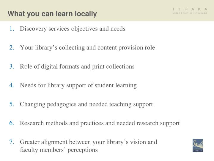 What you can learn locally