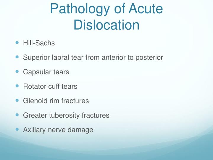 Pathology of Acute Dislocation